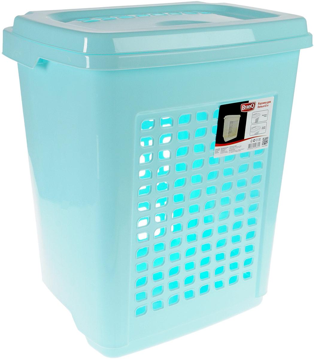 Корзина для белья BranQ, цвет: бирюзовый, 65 л391602Корзина для белья BranQ изготовлена из прочного пластика и оформлена перфорированными отверстиями, благодаря которым обеспечивается естественная вентиляция. Корзина оснащена крышкой, на которой имеется выемка для удобного открывания. Такая корзина для белья прекрасно впишется в интерьер ванной комнаты.