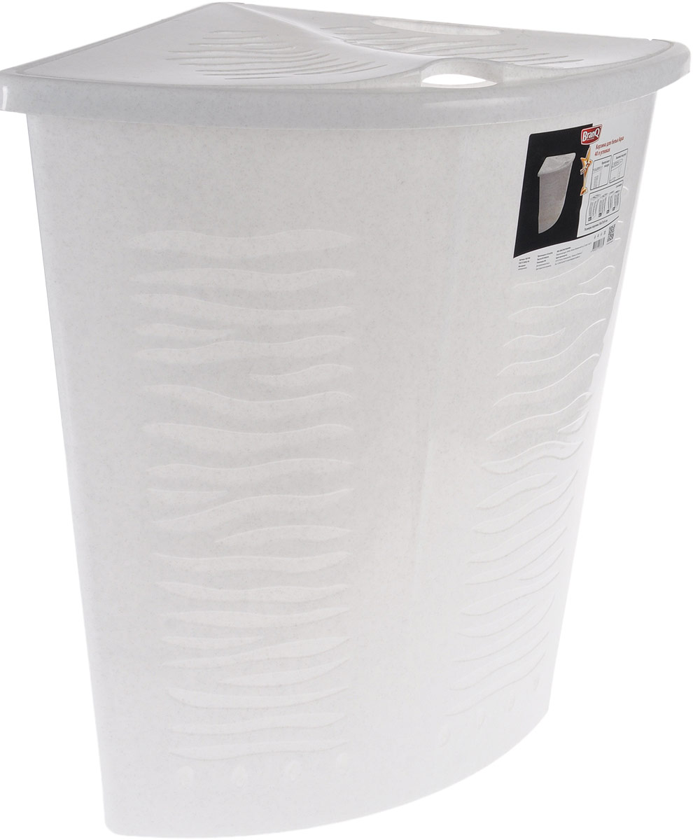 Корзина для белья BranQ Aqua, угловая, цвет: мраморный, 40 л28907 4Угловая корзина для белья BranQ Aqua изготовлена из прочного полипропилена и оформлена перфорированными отверстиями, благодаря которым обеспечивается естественная вентиляция. Изделие идеально подходит для небольших ванных комнат. Корзина оснащена крышкой и ручкой для переноски. На крышке имеется выемка для удобного открывания крышки. Такая корзина для белья прекрасно впишется в интерьер ванной комнаты.