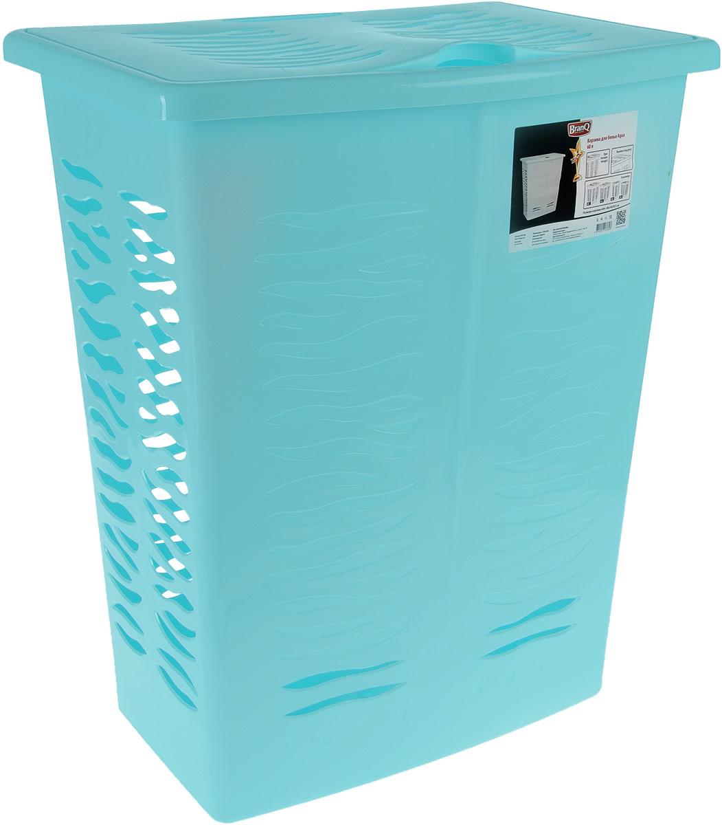 Корзина для белья BranQ Aqua, цвет: бирюзовый, 60 л391602Корзина для белья BranQ Aqua изготовлена из прочного полипропилена и оформлена перфорированными отверстиями, благодаря которым обеспечивается естественная вентиляция. Корзина оснащена крышкой и ручкой для переноски. На крышке имеется выемка для удобного открывания крышки. Такая корзина для белья прекрасно впишется в интерьер ванной комнаты.
