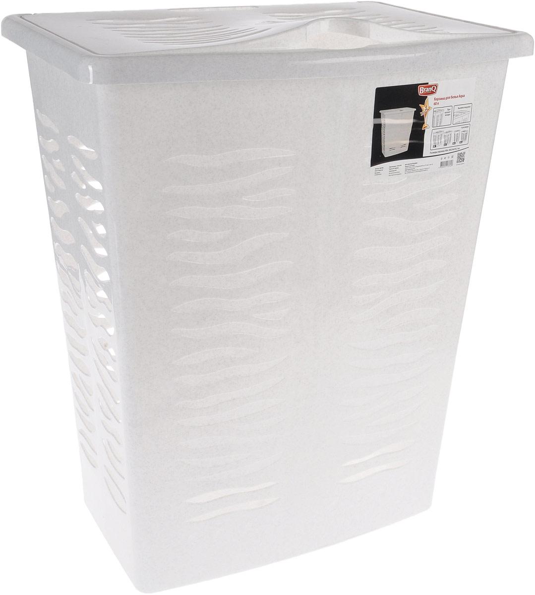 Корзина для белья BranQ Aqua, цвет: мраморный, 60 л391602Корзина для белья BranQ Aqua изготовлена из прочного полипропилена и оформлена перфорированными отверстиями, благодаря которым обеспечивается естественная вентиляция. Корзина оснащена крышкой и ручкой для переноски. На крышке имеется выемка для удобного открывания крышки. Такая корзина для белья прекрасно впишется в интерьер ванной комнаты.