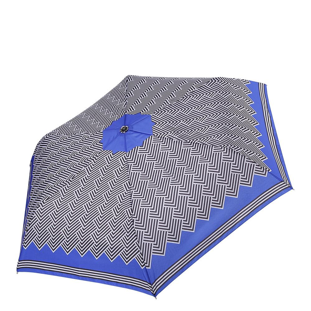 Зонт женский Fabretti, механика, 3 сложения, цвет: синий, белый, черный. MX-17100-1K50K502473_0010Миниатюрный механический женский зонт от итальянского бренда Fabretti очень легок и компактен, поэтому без труда поместится в любую женскую сумочку. Дизайнерский черно-белый принт с элементами геометрических линий дополнит любой современный и модный образ. Материал купола - полиэстер, обладает высокой прочностью и износостойкостью. Вода на куполе из такого материала скатывается каплями вниз, а не впитывается, на нем практически не видны следы изгибов. Эргономичная ручка сделана из высококачественного пластика-полиуретана с противоскользящей обработкой.