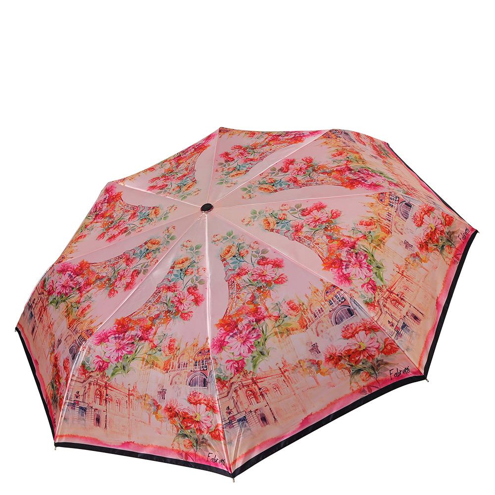 Зонт женский Fabretti, цвет: светло-розовый, мультиколор. S-17101-3QA-11739-7Классический женский зонт от итальянского бренда Fabretti. Женственный розовый оттенок и дизайнерский принт, сочетающий в себе цветочный рисунок и городскую архитектуру с легкостью подчеркнут ваш вкус и сделают вас неотразимой в любую непогоду! Значительным преимуществом данной модели является система антиветер, которая позволяет выдержать сильные порывы ветра. Материал купола – полиэстер. Он невероятно изящен, приятен на ощупь, обладает высокой прочностью, а также устойчив к выцветанию. Эргономичная ручка сделана из высококачественного пластика-полиуретана с противоскользящей обработкой.