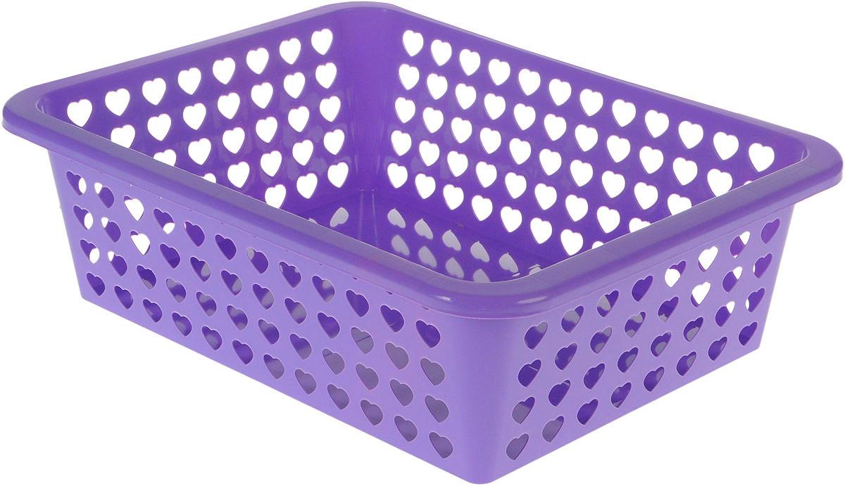 Корзина Альтернатива Вдохновение, цвет: фиолетовый, 39,5 х 29,7 х 12 смS03301004Корзина Альтернатива Вдохновение выполнена из пластика и оформлена перфорацией в виде сердечек. Изделие имеет сплошное дно и жесткую кромку. Корзина предназначена для хранения мелочей в ванной, на кухне, на даче или в гараже. Позволяет хранить мелкие вещи, исключая возможность их потери.