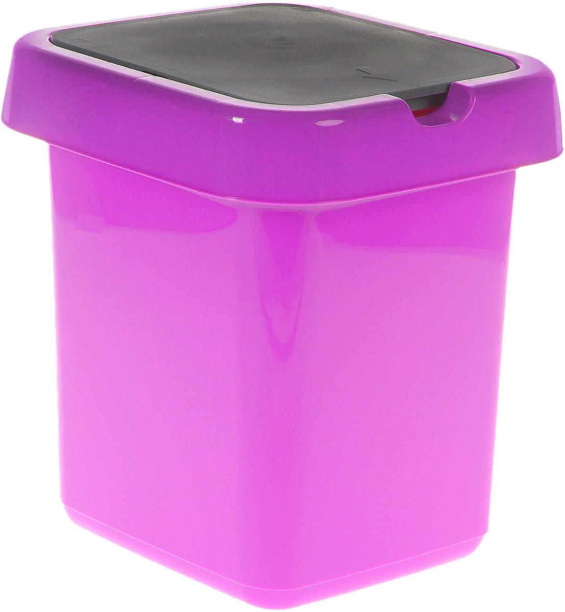 Контейнер для мусора Svip Квадра, цвет: фиолетовый, серый, 9 л787502Мусорный контейнер Svip Квадра поможет поддержать порядок и чистоту на кухне, в туалетной комнате или в офисе. Изделие, выполненное из полипропилена, не боится ударов и долгих лет использования. Изделие оснащено крышкой с двойным механизмом открывания, что обеспечивает максимально удобное использование: откидной крышкой можно воспользоваться при выбрасывании большого мусора, крышкой-маятником - для мусора меньшего объема. Скрытые борта в корпусе изделия для аккуратного использования одноразовых пакетов и сохранения эстетики изделия. Съемная верхняя часть контейнера обеспечивает удобство извлечения накопившегося мусора. Эстетика изделия превращает необходимый предмет кухни или туалетной комнаты в стильное дополнение к интерьеру. Его легкость и прочность оптимально решают проблему сбора мусора.