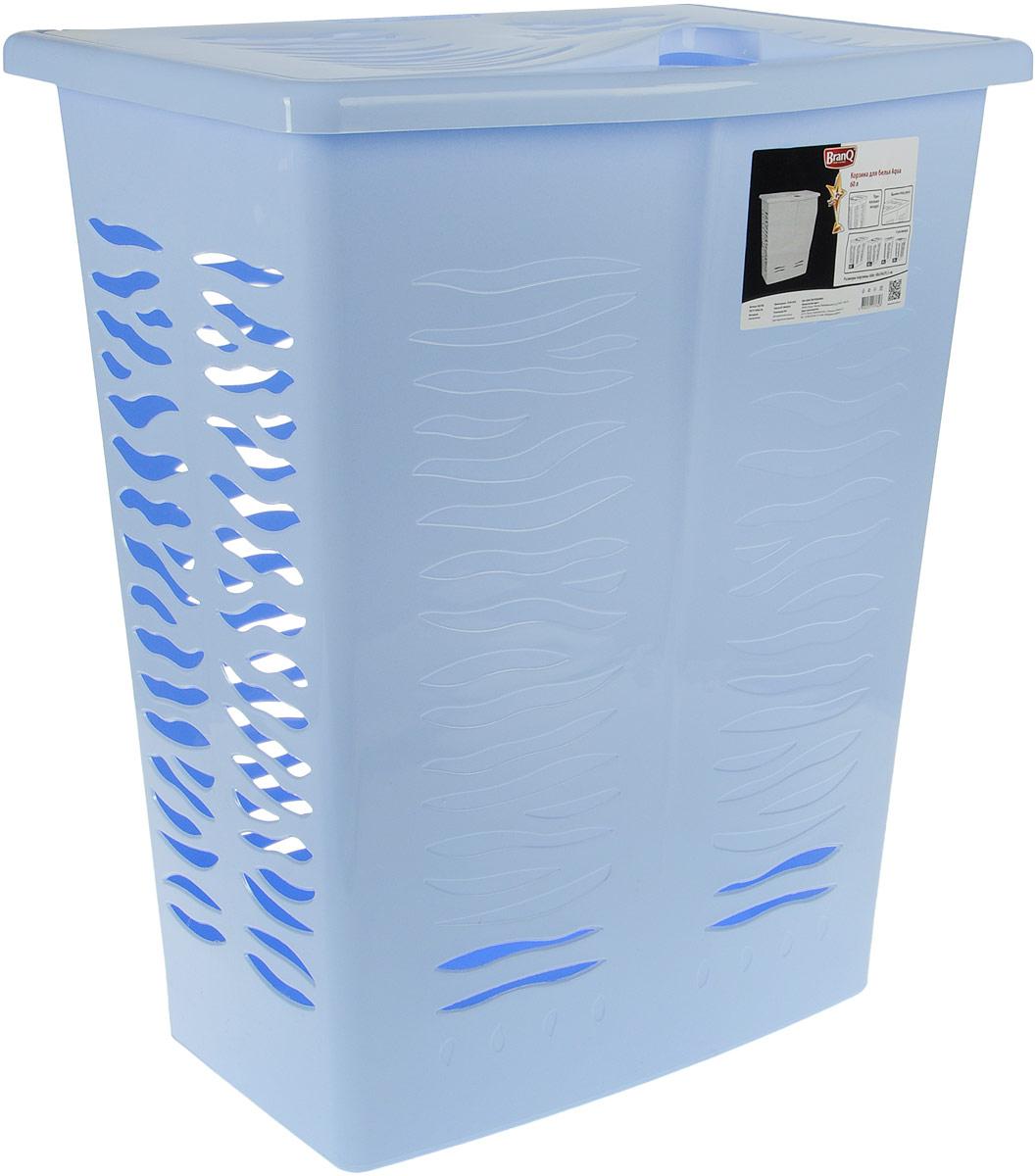 Корзина для белья BranQ Aqua, цвет: голубой, 60 л391602Корзина для белья BranQ Aqua изготовлена из прочного полипропилена и оформлена перфорированными отверстиями, благодаря которым обеспечивается естественная вентиляция. Корзина оснащена крышкой и ручкой для переноски. На крышке имеется выемка для удобного открывания крышки. Такая корзина для белья прекрасно впишется в интерьер ванной комнаты.