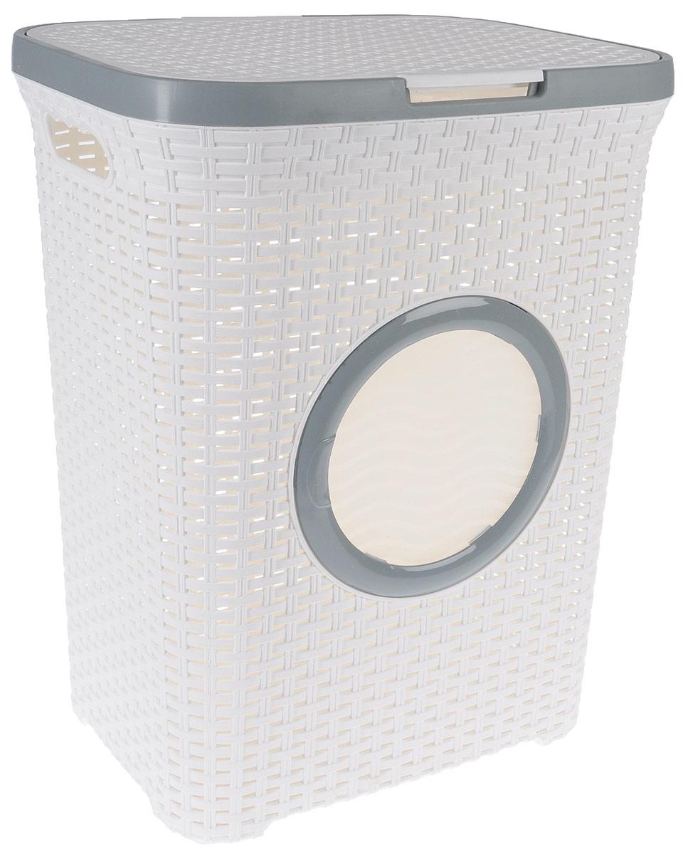 Корзина для белья Violet, с крышкой, цвет: белый, серый, 60 л28907 4Вместительная корзина для белья Violet изготовлена из прочного цветного пластика и декорирована отверстием в виде иллюминатора. Она отлично подойдет для хранения белья перед стиркой.Специальные отверстия на стенках создают идеальные условия для проветривания. Изделие оснащено крышкой и двумя эргономичными ручками для переноски. Такая корзина для белья прекрасно впишется в интерьер ванной комнаты. Высота корзины: 55 см. Ширина: 35,5 см. Длина: 44 см.