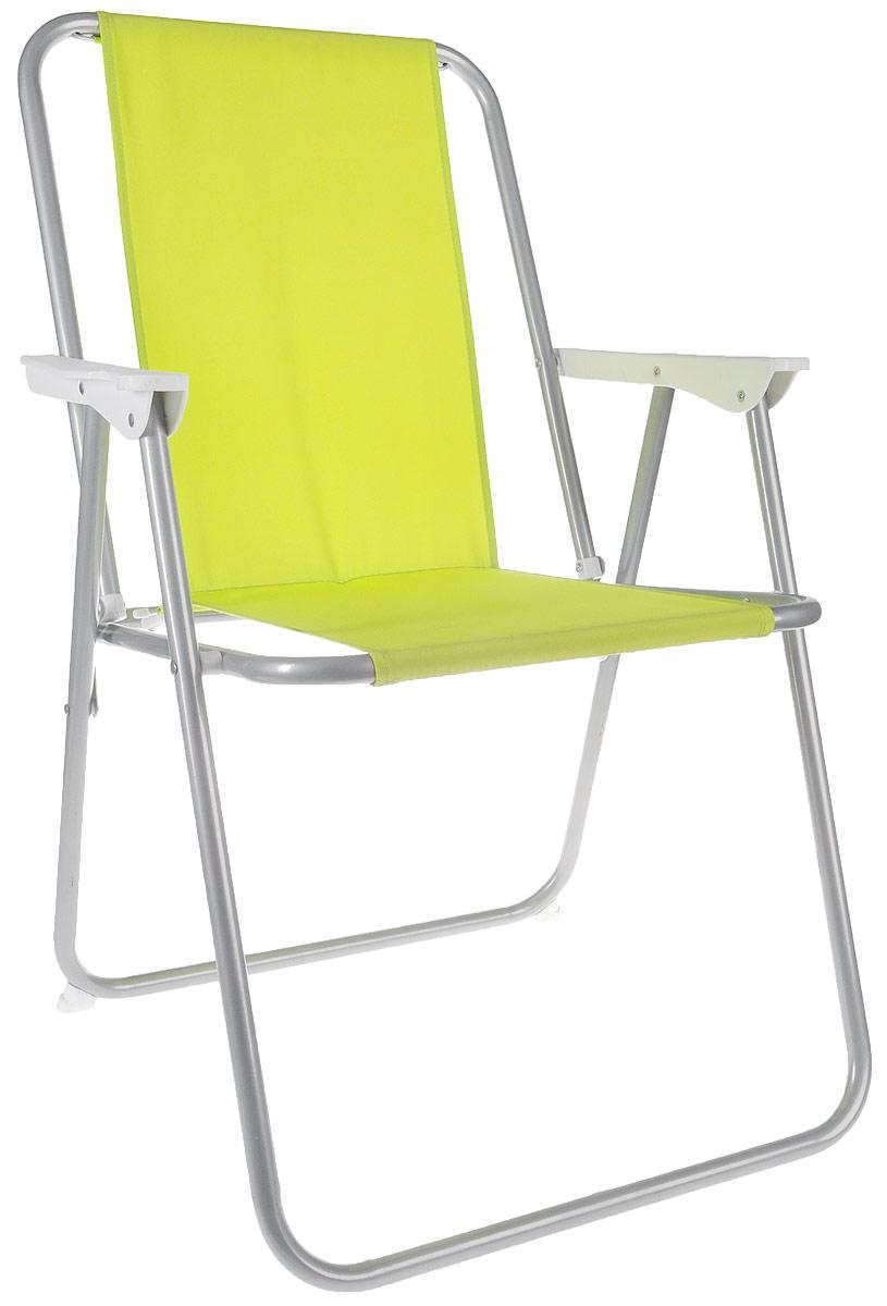 Стул складной Reka, с подлокотниками, цвет: салатовый8001Складной стул с подлокотниками Reka - это незаменимый предмет походной мебели, очень удобен в эксплуатации. Каркас стула выполнен из прочной стали 18 мм, материал сиденья и спинки - полиэстер. Стул легко собирается и разбирается и не занимает много места, поэтому подходит для транспортировки и хранения дома.Размер стула в разобранном виде: 78 x 54 x 46 см.