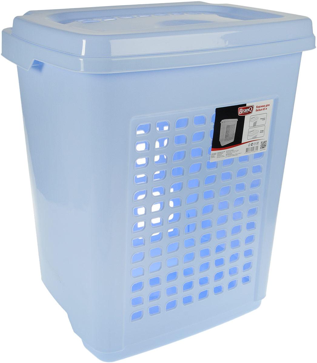 Корзина для белья BranQ, с крышкой, цвет: голубой, 65 л391602Корзина для белья BranQ изготовлена из прочного пластика. Корзина пропускает воздух, устойчива к перепадам температур и влажности, поэтому идеально подходит для ванной комнаты. Изделие оснащено выемками под руки и крышкой. Можно использовать для хранения белья, детских игрушек, домашней обуви и прочих бытовых вещей. Элегантный дизайн подойдет к интерьеру любой ванной.
