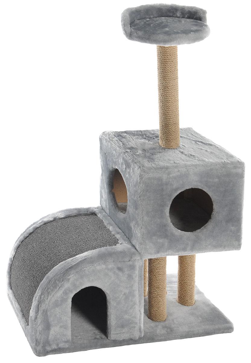 Домик-когтеточка Меридиан, двухуровневый, цвет: светло-серый, бежевый, 71 х 36 х 110 см0120710Домик-когтеточка Меридиан выполнен из высококачественного ДВП и ДСП и обтянут искусственным мехом. Изделие предназначено для кошек. Ваш домашний питомец будет с удовольствием точить когти о специальные столбики, изготовленные из джута или о горку из ковролина. А отдохнуть он сможет либо на полке, либо в домиках. Домик-когтеточка Меридиан принесет пользу не только вашему питомцу, но и вам, так как он сохранит мебель от когтей и шерсти.Общий размер: 71 х 36 х 110 см.Размер нижнего домика: 36 х 36 х 32 см.Размер верхнего домика: 36 х 36 х 31 см.Размер полки: 26 х 26 см.