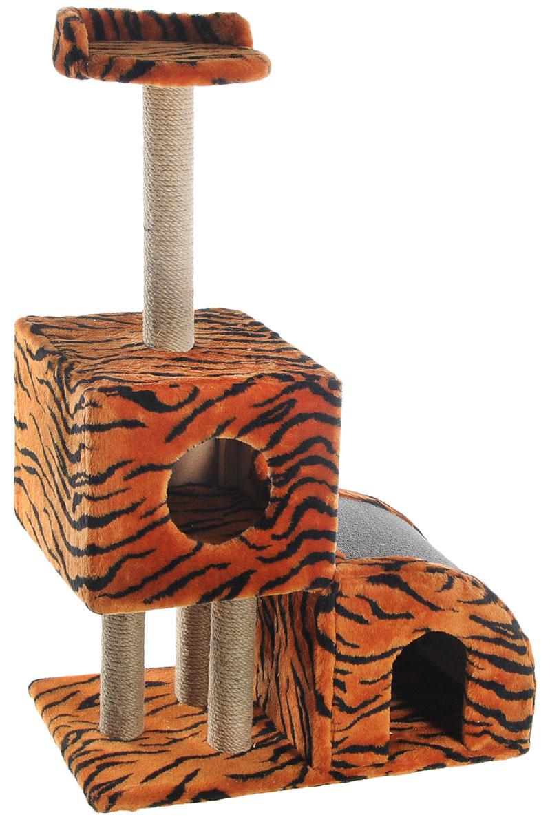 Домик-когтеточка Меридиан, двухуровневый, цвет: оранжевый, черный, бежевый, 71 х 36 х 110 смД341ТДомик-когтеточка Меридиан выполнен из высококачественного ДВП и ДСП и обтянут искусственным мехом. Изделие предназначено для кошек. Ваш домашний питомец будет с удовольствием точить когти о специальные столбики, изготовленные из джута или о горку из ковролина. А отдохнуть он сможет либо на полке, либо в домиках. Домик-когтеточка Меридиан принесет пользу не только вашему питомцу, но и вам, так как он сохранит мебель от когтей и шерсти.Общий размер: 71 х 36 х 110 см.Размер нижнего домика: 36 х 36 х 32 см.Размер верхнего домика: 36 х 36 х 31 см.Размер полки: 26 х 26 см.