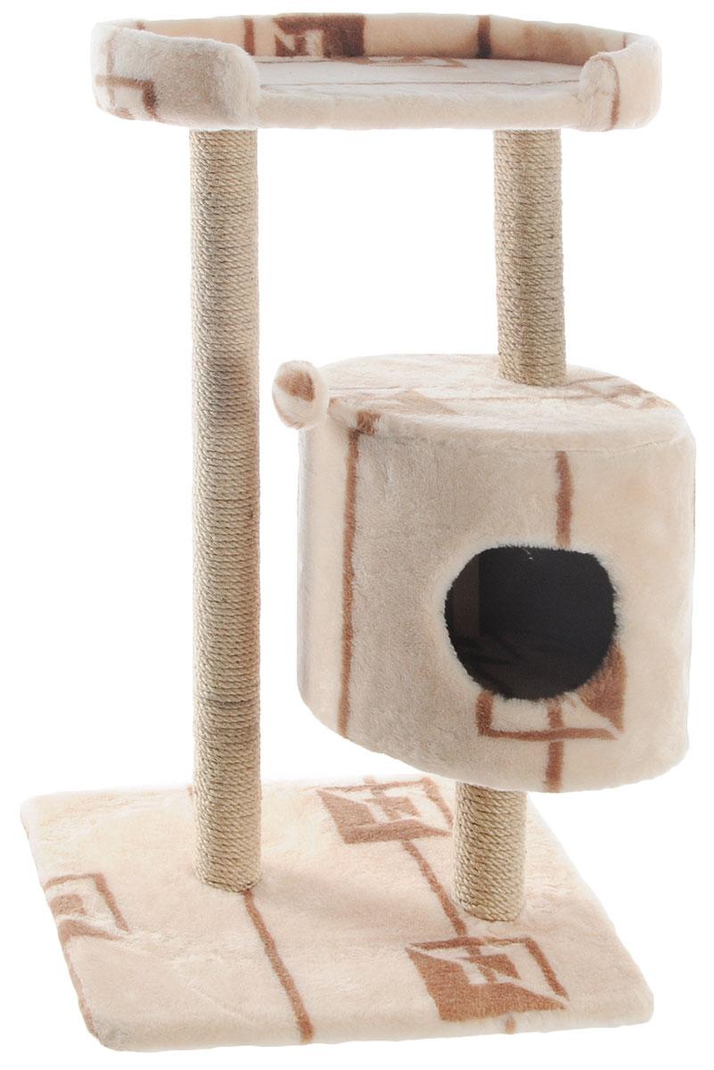 Домик-когтеточка Меридиан, круглый, с площадкой, цвет: бежевый, коричневый, 52 х 52 х 105 смД517ГДомик-когтеточка Меридиан выполнен из высококачественного ДВП и ДСП и обтянут искусственным мехом. Изделие предназначено для кошек. Ваш домашний питомец будет с удовольствием точить когти о специальные столбики, изготовленные из джута. А отдохнуть он сможет либо на полке, либо в домике. Изделие снабжено подвесной игрушкой. Домик-когтеточка Меридиан принесет пользу не только вашему питомцу, но и вам, так как он сохранит мебель от когтей и шерсти.Общий размер: 52 х 52 х 105 см.Размер домика: 35 х 35 х 32 см.Размер полки: 51 х 29 см.