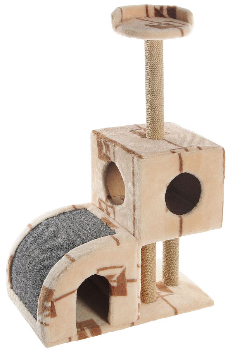 Домик-когтеточка Меридиан, двухуровневый, цвет: коричневый, бежевый, 71 х 36 х 110 см0120710Домик-когтеточка Меридиан выполнен из высококачественного ДВП и ДСП и обтянут искусственным мехом. Изделие предназначено для кошек. Ваш домашний питомец будет с удовольствием точить когти о специальные столбики, изготовленные из джута или о горку из ковролина. А отдохнуть он сможет либо на полке, либо в домиках. Домик-когтеточка Меридиан принесет пользу не только вашему питомцу, но и вам, так как он сохранит мебель от когтей и шерсти.Общий размер: 71 х 36 х 110 см.Размер нижнего домика: 36 х 36 х 32 см.Размер верхнего домика: 36 х 36 х 31 см.Размер полки: 26 х 26 см.
