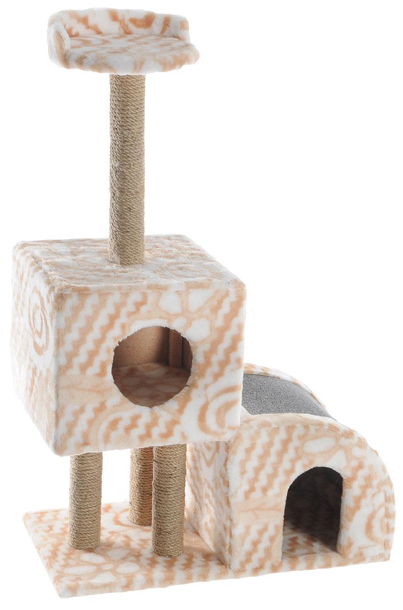 Домик-когтеточка Меридиан, двухуровневый, цвет: бежевый, белый, серый, 71 х 36 х 110 смQQ80308A-1Домик-когтеточка Меридиан выполнен из высококачественного ДВП и ДСП и обтянут искусственным мехом. Изделие предназначено для кошек. Ваш домашний питомец будет с удовольствием точить когти о специальные столбики, изготовленные из джута или о горку из ковролина. А отдохнуть он сможет либо на полке, либо в домиках. Домик-когтеточка Меридиан принесет пользу не только вашему питомцу, но и вам, так как он сохранит мебель от когтей и шерсти.Общий размер: 71 х 36 х 110 см.Размер нижнего домика: 36 х 36 х 32 см.Размер верхнего домика: 36 х 36 х 31 см.Размер полки: 26 х 26 см.