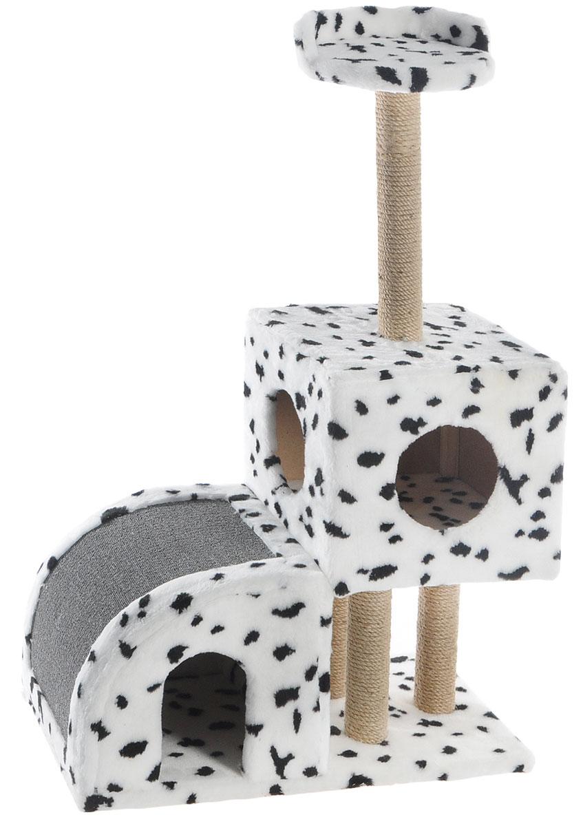 Домик-когтеточка Меридиан, двухуровневый, цвет: белый, черный, бежевый, 71 х 36 х 110 смД341ДДомик-когтеточка Меридиан выполнен из высококачественного ДВП и ДСП и обтянут искусственным мехом. Изделие предназначено для кошек. Ваш домашний питомец будет с удовольствием точить когти о специальные столбики, изготовленные из джута или о горку из ковролина. А отдохнуть он сможет либо на полке, либо в домиках. Домик-когтеточка Меридиан принесет пользу не только вашему питомцу, но и вам, так как он сохранит мебель от когтей и шерсти.Общий размер: 71 х 36 х 110 см.Размер нижнего домика: 36 х 36 х 32 см.Размер верхнего домика: 36 х 36 х 31 см.Размер полки: 26 х 26 см.