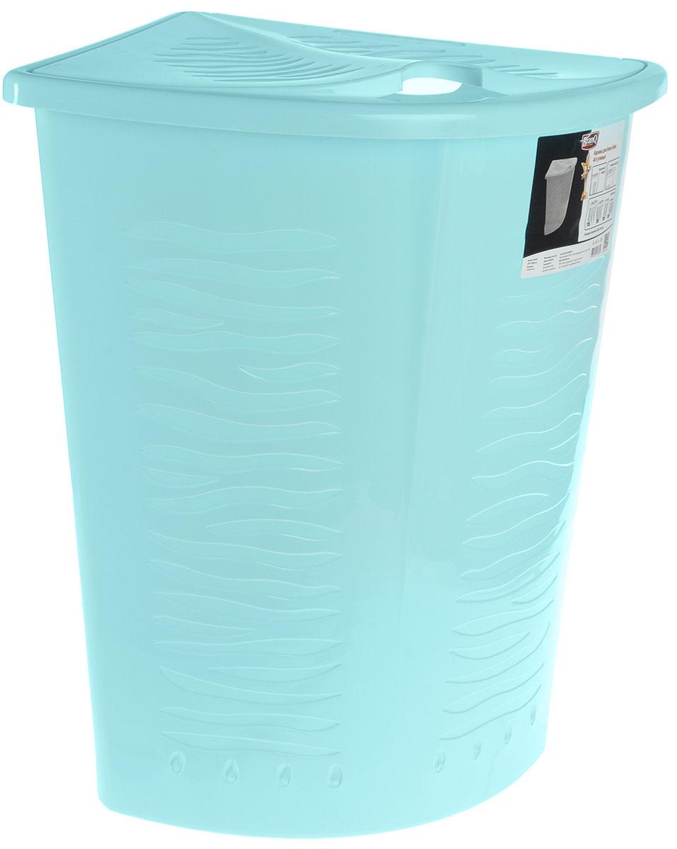 Корзина для белья BranQ Aqua, угловая, цвет: бирюзовый, 40 л391602Угловая корзина для белья BranQ Aqua изготовлена из прочного полипропилена и оформлена перфорированными отверстиями, благодаря которым обеспечивается естественная вентиляция. Изделие идеально подходит для небольших ванных комнат. Корзина оснащена крышкой и ручкой для переноски. На крышке имеется выемка для удобного открывания крышки. Такая корзина для белья прекрасно впишется в интерьер ванной комнаты.