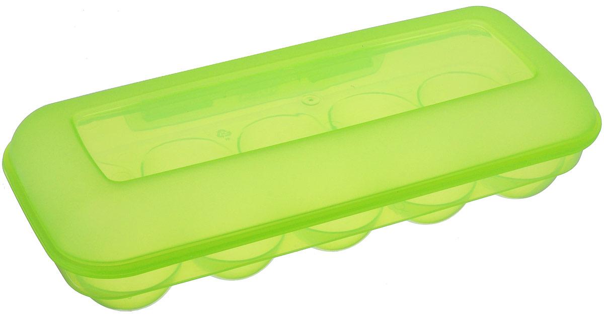 Контейнер для яиц Idea, на 10 шт, цвет: салатовый, 26,5 см х 11,5 см х 6,5 смFA-5125 WhiteКонтейнер для яиц Idea выполнен из безопасного полипропилена и снабжен специальными ячейками для 10 яиц. Надежный защелкивающийся замок предотвратит случайное раскрытие контейнера. Контейнер не занимает много места, что очень удобно при транспортировке и хранении. Диаметр ячейки: 4,3 см.