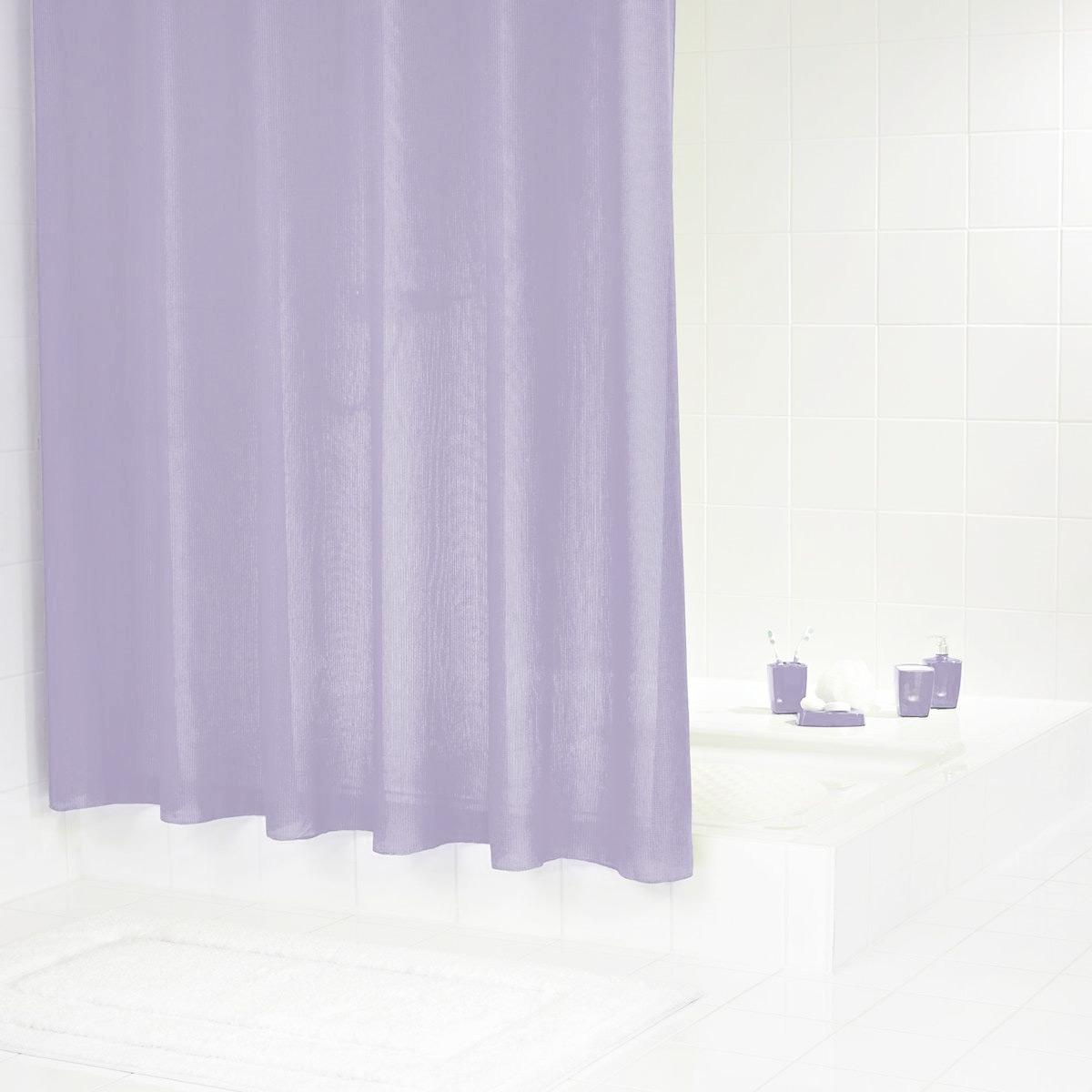 Штора для ванной комнаты Ridder Rubin, цвет: фиолетовый, 180 х 200 см391602Высококачественная немецкая шторка для душа создает прекрасное настроение. Данный продукт имеет антигрибковое, водоотталкивающее и антистатическое покрытие. Качественная обстрочка всех кантов. Утяжелённый нижний кант из каучука. Машинная стирка. Глажка при низкой температуре.