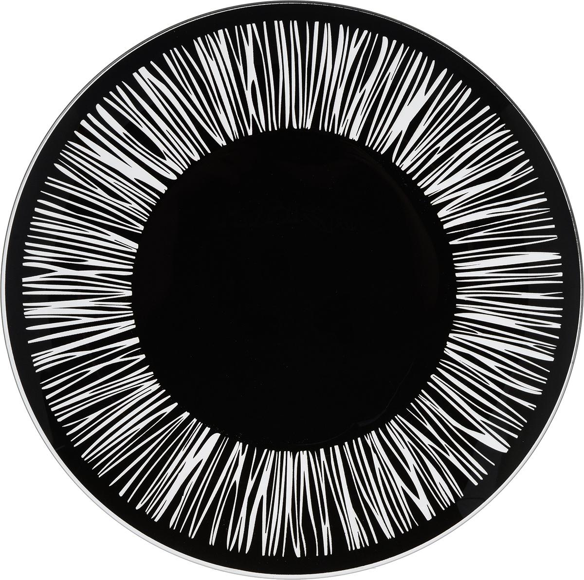 Тарелка NiNaGlass Витас, цвет: черный, диаметр 30 см54 009312Тарелка NiNaGlass Витас выполнена из высококачественного стекла и оформлена оригинальным узором. Тарелка идеальна для сервировки закусок, нарезок, салатов, овощей и фруктов. Она отлично подойдет как для повседневных, так и для торжественных случаев.Такая тарелка прекрасно впишется в интерьер вашей кухни и станет достойным дополнением к кухонному инвентарю.