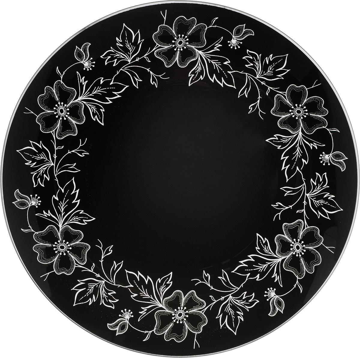 Тарелка NiNaGlass Лара, цвет: черный, диаметр 30 см54 009312Тарелка NiNaGlass Лара выполнена из высококачественного стекла и оформлена красивым цветочным узором. Тарелка идеальна для сервировки закусок, нарезок, салатов, овощей и фруктов. Она отлично подойдет как для повседневных, так и для торжественных случаев.Такая тарелка прекрасно впишется в интерьер вашей кухни и станет достойным дополнением к кухонному инвентарю.