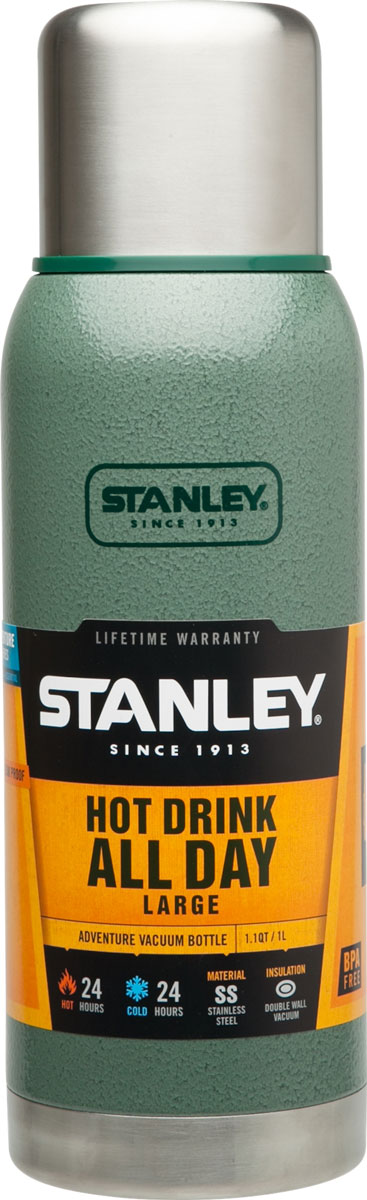 Термос Stanley Adventure, цвет: темно-зеленый, 1 л10-01570-005Герметичный термос Stanley Adventure выполнен из высококачественной нержавеющей стали. Вакуумная изоляция позволит дольше сохранить температуру вашего напитка. Крышка выполнена в виде термостакана объемом 236 мл. Слив - через поворотную пробку.Стильный функциональный термос будет незаменим в дороге, на пикнике. Его можно взять с собой куда угодно, и вы всегда сможете наслаждаться горячим домашним напитком.Время удержания тепла: 24 часа. Время удержания холода: 24 часа. Время хранения напитков со льдом: 120 часов. Объем термоса: 1 л.