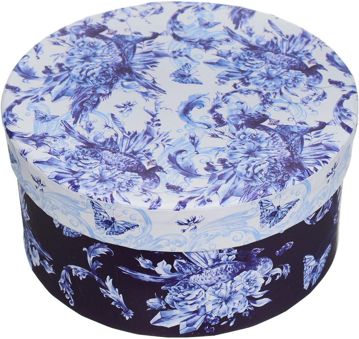 Коробка подарочная Magic Home Голубые цветы, круглая, 14 х 14 х 7 смK100Подарочная коробка Magic Home Голубые цветы выполнена из мелованного ламинированного картона. Коробочка оформлена оригинальным рисунком. Изделие имеет круглую форму и закрывается крышкой. Подарочная коробка - это наилучшее решение, если вы хотите порадовать близких людей и создать праздничное настроение, ведь подарок, преподнесенный в оригинальной упаковке, всегда будет самым эффектным и запоминающимся. Окружите близких людей вниманием и заботой, вручив презент в нарядном, праздничном оформлении.Плотность картона: 1100 г/м2.