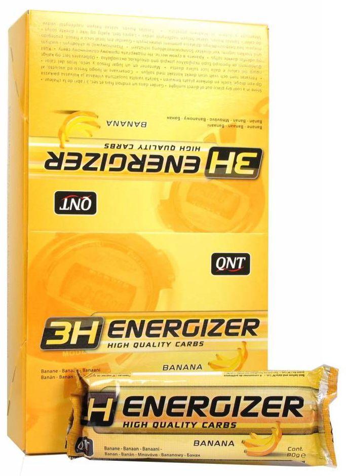 QNT Энергетический тортик Energizer Bar 3H, шоколад, 80 гSF 0085Спортивный тортик 3H Energizer Bar от QNT относится к разряду энергетических так, как содержит большое количество углеводов. Energy Bar изготовлен на основе злаков, имеет в своем составе углеводы с различным гликемическим индексом (быстрые и медленные). Тортик направлен на обеспечение атлета мощным зарядом энергии, необходимой для выполнения тяжелых физических упражнений.Состав: Сахарный сироп, овсяные хлопья 33%, сахар, кишмиш 16,5%, вкусовая добавка, кокос 12,5%, порошок какао 2,5%, растительное масло, глицерин, Фундук 5,4%.