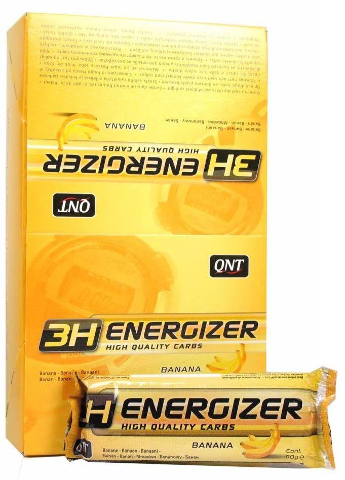 QNT Энергетический тортик Energizer Bar 3H, банан, 80 гDRIW.611.INСпортивный тортик 3H Energizer Bar от QNT относится к разряду энергетических так, как содержит большое количество углеводов. Energy Bar изготовлен на основе злаков, имеет в своем составе углеводы с различным гликемическим индексом (быстрые и медленные). Тортик направлен на обеспечение атлета мощным зарядом энергии, необходимой для выполнения тяжелых физических упражнений.Состав: Сахарный сироп, овсяные хлопья 33%, сахар, кишмиш 16,5%, вкусовая добавка, кокос 12,5%, порошок какао 2,5%, растительное масло, глицерин, Фундук 5,4%.