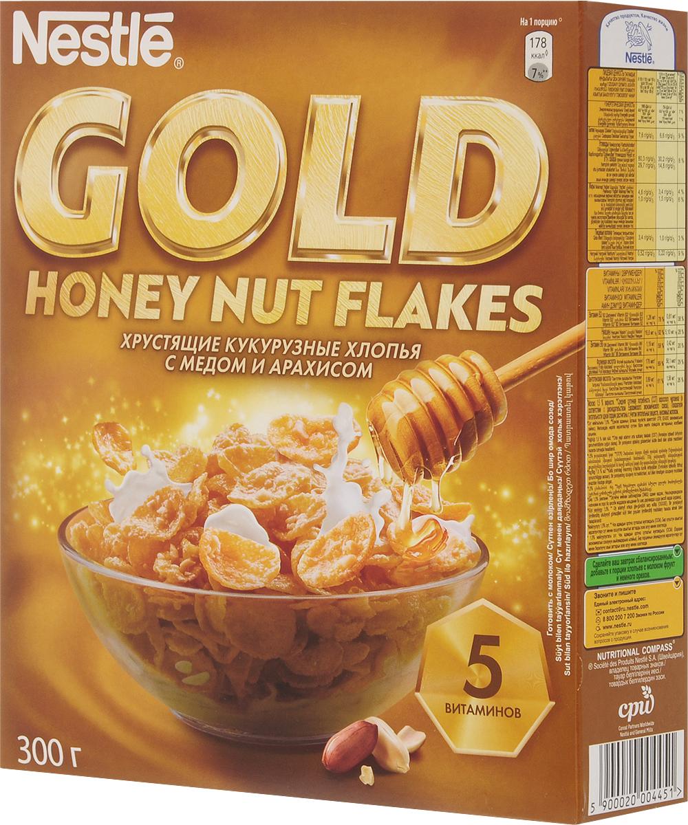 Nestle Gold Honey Nut Flakes готовый завтрак, 300 г готовый завтрак nestle nesquik шарики с шоколадом