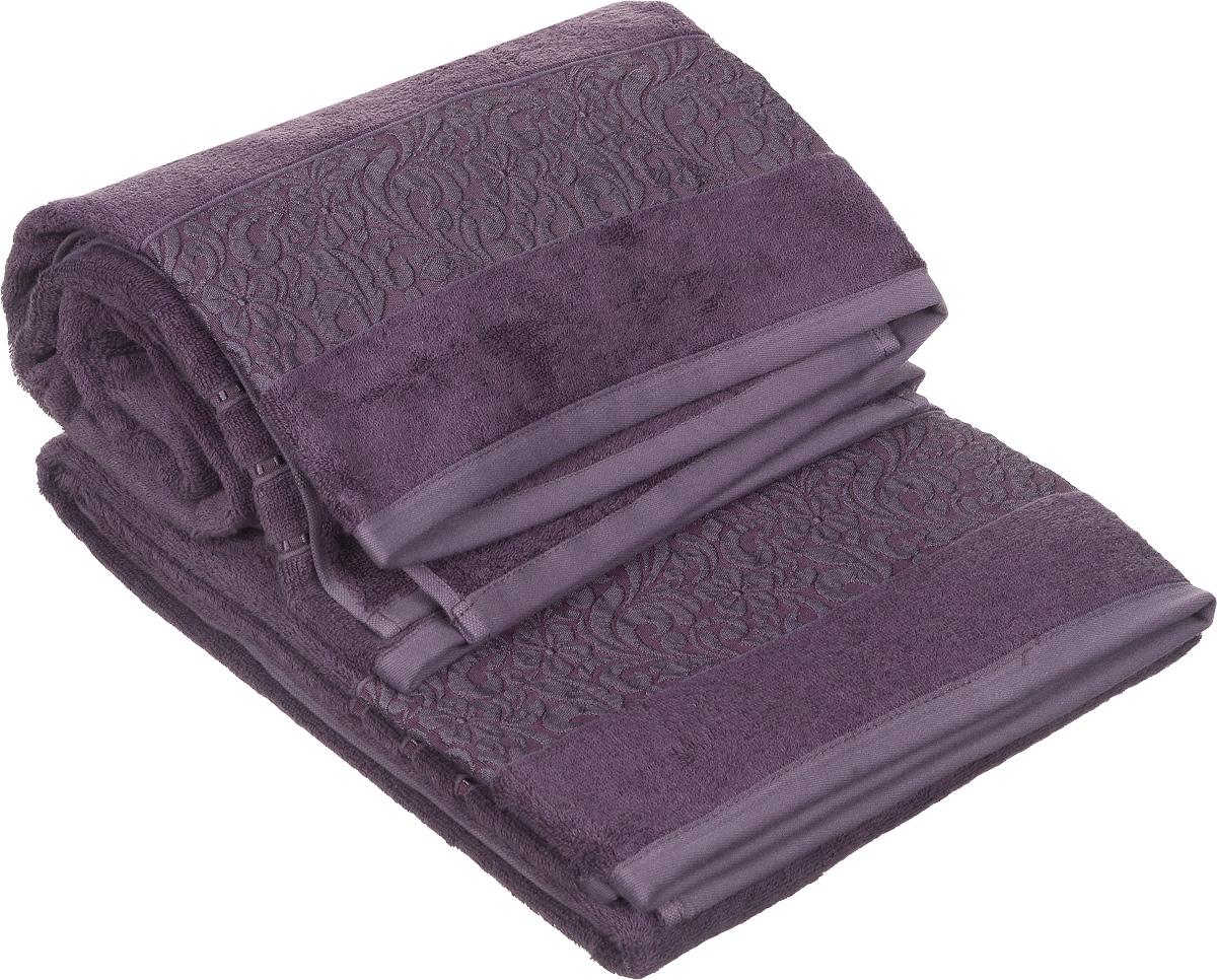 Набор полотенец Issimo Home Valencia, цвет: пурпурный, 90 х 150 см, 2 шт68/5/4Набор Issimo Home Valencia состоит из 2 банных полотенец, выполненных из бамбука с добавлением хлопка. Красивый жаккардовый бордюр с цветочным орнаментом выполнен в цвет полотенец. Полотенца из бамбука только издали похожи на обычные. На самом деле, при первом же прикосновении вы ощутите, насколько эти полотенца мягкие и нежные. Таким полотенцем не нужно вытираться: только коснитесь кожи, и ткань сама все впитает. Такая ткань впитывает в 3 раза лучше, чем хлопок. Несмотря на богатую плотность и высокую петлю полотенца быстро сохнут, остаются легкими даже при намокании.