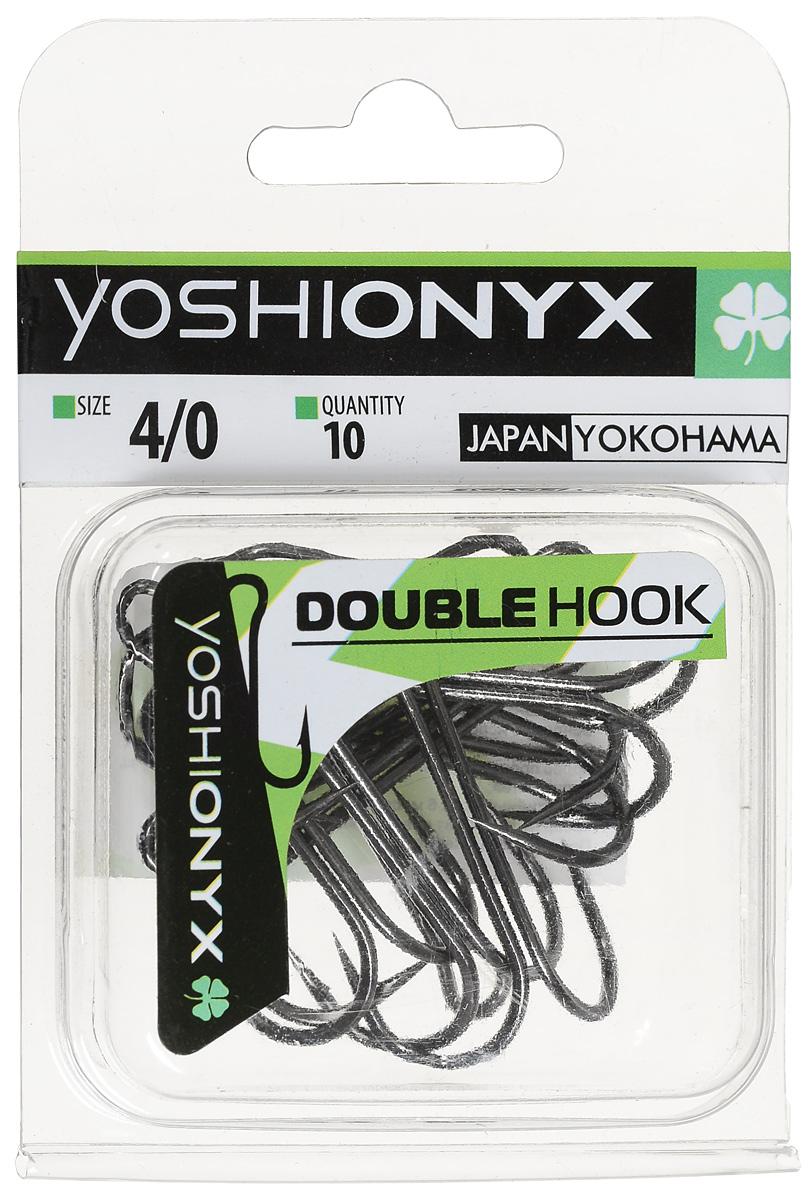 Крючок двойной Yoshi Onyx Double Hook, №4/0, 10 шт. BNMABLSEH10001Двойные крючки Yoshi Onyx Double Hook с нормальной длиной цевья достаточно универсальные и могут использоваться в самых разнообразных видах рыбной ловли. Острая лазерная заточка и сверхпрочная закаленная сталь предотвратит разгибание или обламывание крючка и сход рыбы.Размер крючка: 4/0.