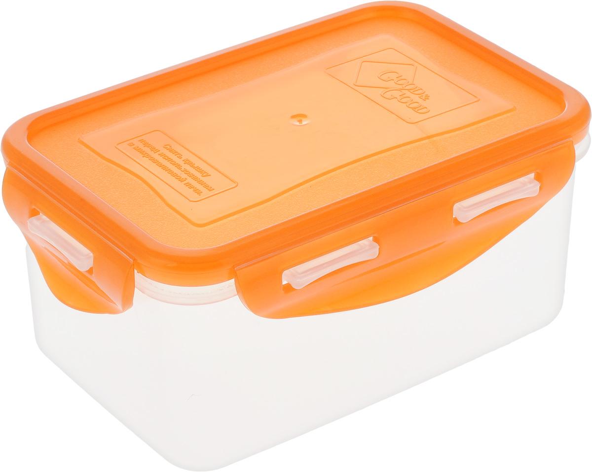 Контейнер пищевой Good&Good, цвет: прозрачный, оранжевый, 800 мл. B/COL 2-2VT-1520(SR)Прямоугольный контейнер Good&Good изготовлен из высококачественного полипропилена и предназначен для хранения любых пищевых продуктов. Благодаря особым технологиям изготовления, лотки в течение времени службы не меняют цвет и не пропитываются запахами. Крышка с силиконовой вставкой герметично защелкивается специальным механизмом. Контейнер Good&Good удобен для ежедневного использования в быту.Можно мыть в посудомоечной машине и использовать в микроволновой печи, пригоден для хранения в морозильной камере.Размер контейнера (с учетом крышки): 16 х 11 х 7,5 см.
