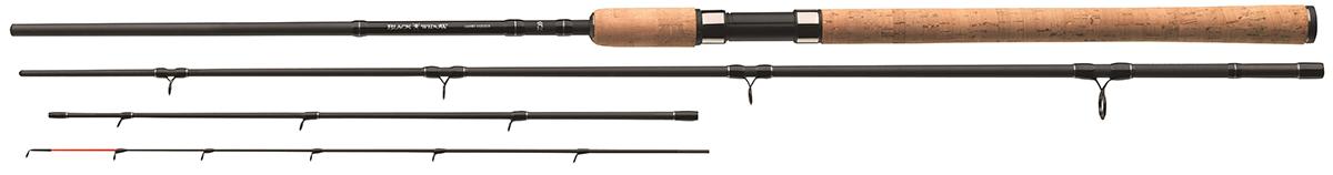 Удилище фидерное Daiwa Black Widow Feeder, 3,6 м, до 150 г54204Модели с тестом 150г - классические универсальные фидерныеудилища, которые можно использовать на реках с сильным течением,но и на закрытых водоемах. Мощный бланк обладает достаточнымрезервом для ловли усача. Кольца с большим диаметром,установленные на кивертипах, позволяют использовать шоклидеры.