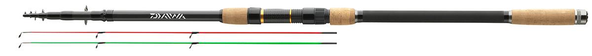 Удилище фидерное Daiwa Black W. Tele Feeder, 3,9 м, до 100 г10936Телескопическое фидерное удилище с мощным бланком иполупараболическим строем доставит вам удовольствие привываживании. Это удилище отличается изысканным дизайноми, благодаря своему строю, может быть использовано для ловлис методными кормушками, равно как и для ловли угря. Оснащенокольцами из оксида титана на двойной лапке, разнесенной пробковойрукояткой и поставляется в тканевом чехле.В комплект входят 2 вершинки из стеклопластика