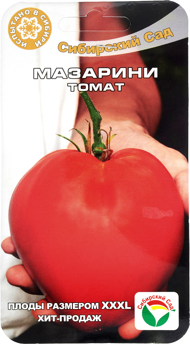 Семена Сибирский сад Томат. Мазарини F1, 20 штBP-00000412Семена Сибирский сад Томат. Мазарини F1, являются среднеспелым, высокоурожайным сортом, любимец российских дачников, предназначен для выращивания в теплицах и плёночных укрытиях.В кисти 5-6 гладких плодов ярко-малинового цвета. Томаты сердцевидной формы, с сахаристой мякотью и малым количеством семян, устойчивые к растрескиванию. Регулярный полив и подкормки комплексными минеральными удобрениями способствует значительному увеличению урожайности сорта. Высота растения: до 1,5-1,8 м,Масса: до 700-800 г, Урожайность: 7-8 кг/м^2
