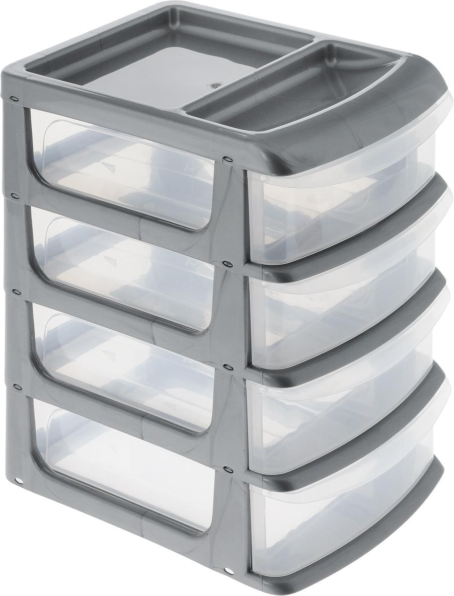 Бокс универсальный Idea, цвет: серый металлик, прозрачный, 20 х 14,5 х 23 см, 4 секцииVAL AC301Универсальный бокс Idea выполнен из высококачественного пластика и имеет четыре удобные выдвижные секции. Бокс предназначен для хранения предметов шитья, рукоделия, хобби и всех необходимых мелочей. Изделие позволит компактно хранить вещи, поддерживая порядок и уют в вашем доме.Размер секции: 20 х 14 х 4,8 см.