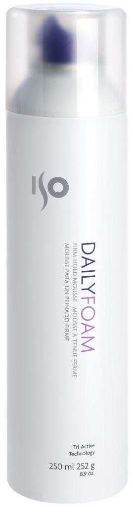 ISO Daily Foam - Пенка сильной фиксации для объема, 250 мл0990-81545320Плотная пена, увеличивается при выдавливании на ладонь, эластичная, хорошо разносится, без склеивания, хлопьев и налета. Для придания объема и фиксации формы. Пантенол, протеины пшеницы и сои, витамины А и Е – питают и облегчают укладку. Содержит UV-фильтры.Результат: Зафиксированные, объемные волосы, которые долго держат укладку, даже в условиях повышенной влажности. Секреты применения: При использовании на влажных, вьющихся волосах – эффект мягких, романтичных локонов. Можно создавать холодные волны (стиль 40х годов 20 века) – нанести большое количество пены на влажные волосы, приступить к у кладке.