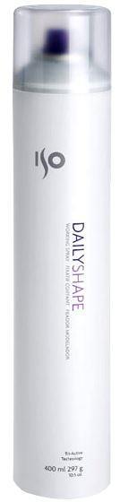 ISO Daily Shape Hairspray - Спрей моделирующий, 400 млMP59.4DМелко распыляется, не мокрый, имеет приятный запах, легко счесывается, обладает гибкой фиксацией, интеллектуальная формула позволяет запоминать форму укладки даже после счесывания. Гибкая фиксация подвижных форм, придание объема. Защита формы при повышенной влажности за счет устойчивых к влаге полимеров. Силиконы – усиливают блеск. Содержит UV-фильтры.Результат: Зафиксированные, защищенные, ухоженные, объемные, блестящие волосы, не склеенные, без хлопьев и налета. Секреты применения: Можно использовать на влажные волосы для прикорневого объема (для этого приподнять волосы и нанести на прикорневую зону, уложить феном). Хорошо использовать как основной лак при создании конкурсных работ или моделировании причесок, когда требуются постоянные изменения формы и счесывания, а закреплять спреем сильной фиксации.