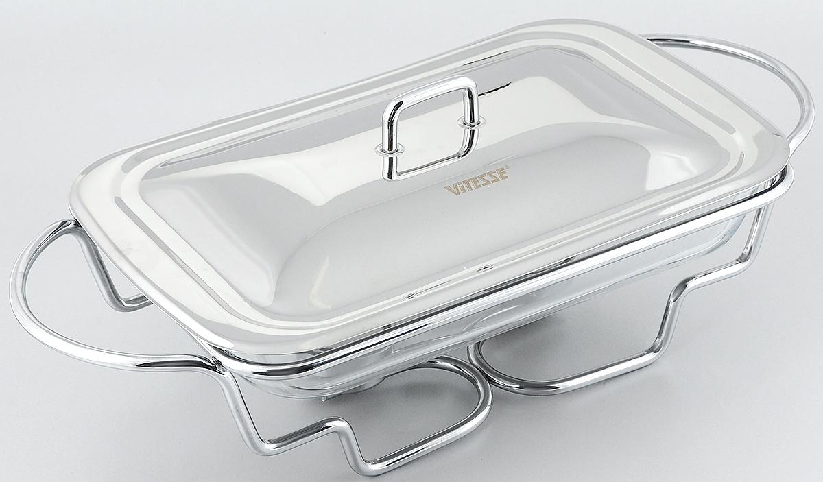 Мармит Vitesse Annabel с крышкой, с подогревом, 2,4 лVT-1520(SR)Мармит Vitesse Annabel прямоугольной формы изготовлен из термостойкого прозрачного стекла. Мармит предназначен для приготовления блюд в духовке и микроволновой печи. Мармит с приготовленным блюдом можно сразу подавать на стол, не перекладывая на сервировочные тарелки.Мармит помещается на металлическую подставку с двумя подсвечниками для чайных свечей (входят в комплект). Свечи обеспечивают легкий подогрев блюд и не дают им остыть. Изделие также оснащено крышкой из нержавеющей стали. Элегантный дизайн изящно украсит стол.Можно использовать в духовом шкафу, микроволновой печи (без подставки) и мыть в посудомоечноймашине.Размер мармита: 34 х 20,5 см.Высота стенки: 5 см. Размер подставки: 46,5 х 22 х 11 см. Диаметр подсвечника: 4 см.