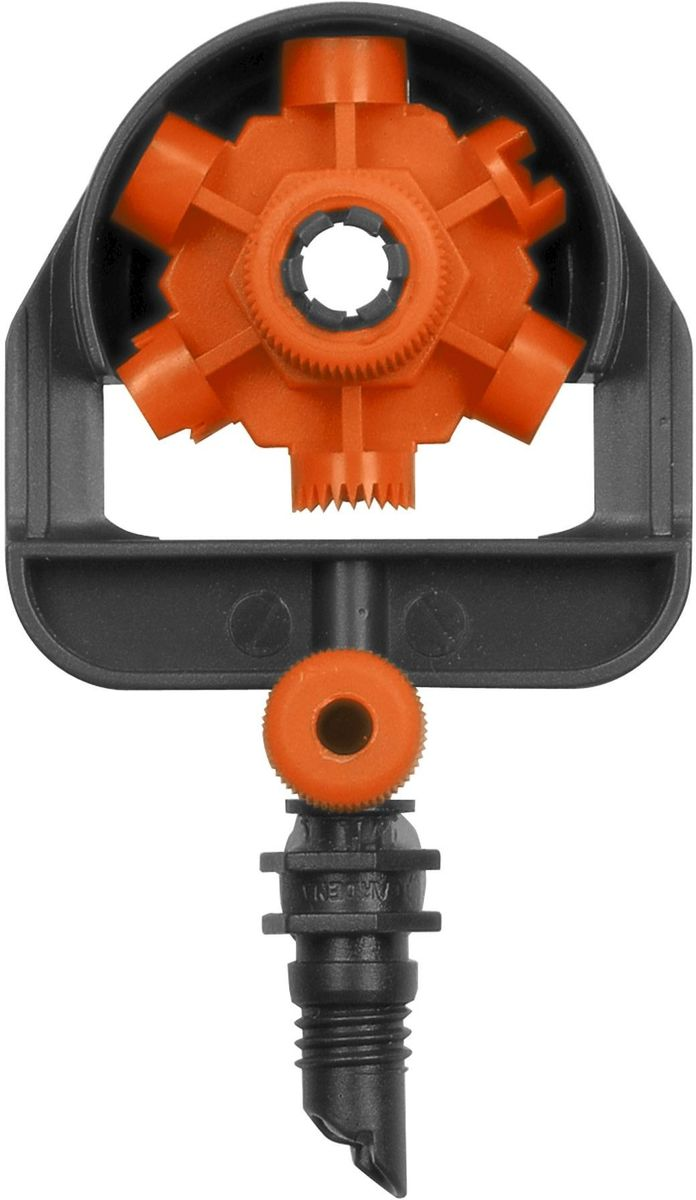 Микродождеватель Gardena, шестипозиционный, 5 шт106-026Шестипозиционный микродождеватель Gardena является элементом системы микрокапельного полива Gardena Micro-Drip-System и идеально подходит для полива участков различной конфигурации. С помощью регулятора можно легко выбирать один из режимов полива. Предусмотрены следующие режимы: 90 °, 180 °, 270 °, 360 °, полоса и двойная полоса. Для повышения функциональности инструмента предусмотрена возможность регулирования потока по каждому отдельному режиму. С помощью надставки (не входит в комплект) можно повысить уровень расположения микронасадки, благодаря чему обеспечивается оптимальный полив даже высоких растений. В комплект поставки входят два микродождевателя.