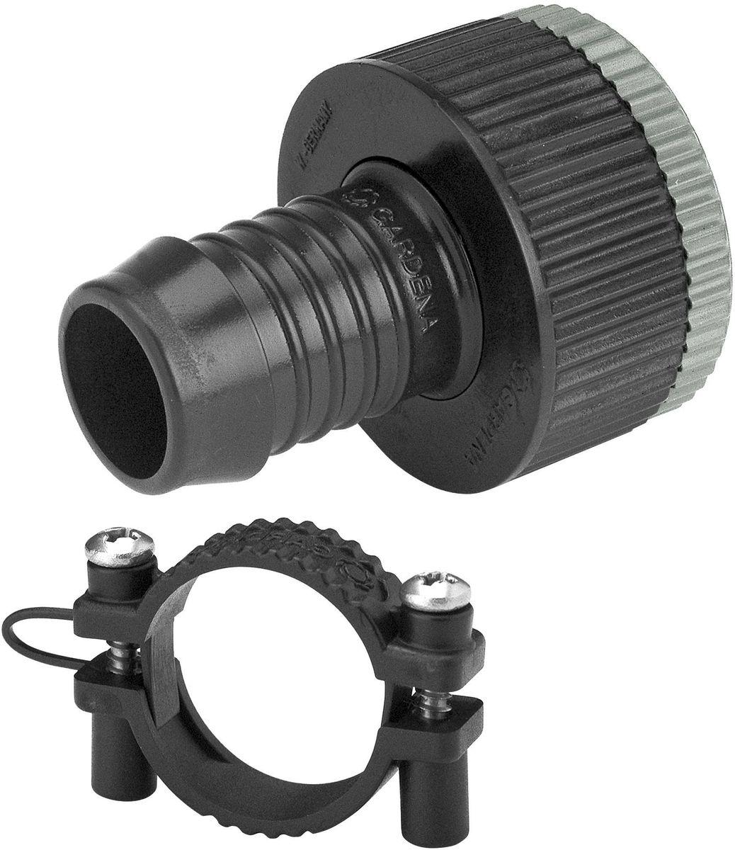 Вставка адаптерная Gardena106-026Адаптерная вставка Gardena предназначена для создания устойчивого к постоянному давлению шлангового соединения между водопроводным краном и входной колонкой. При подсоединении клапана для полива или водозаборной колонки, как правило, создается постоянное давление. Такая вставка подходит для кранов с резьбой 26,5 мм (G 3/4) и 33,3 мм (G 1), а также для шлангов диаметром 19 мм (3/4). В комплект поставки входит хомут для крепления шланга. Кроме того, адаптерная вставка может использоваться для перехода с подающего шланга 19 мм(3/4) на шланг 25 мм с соединителем Gardena, наружная резьба 25 мм х 1.