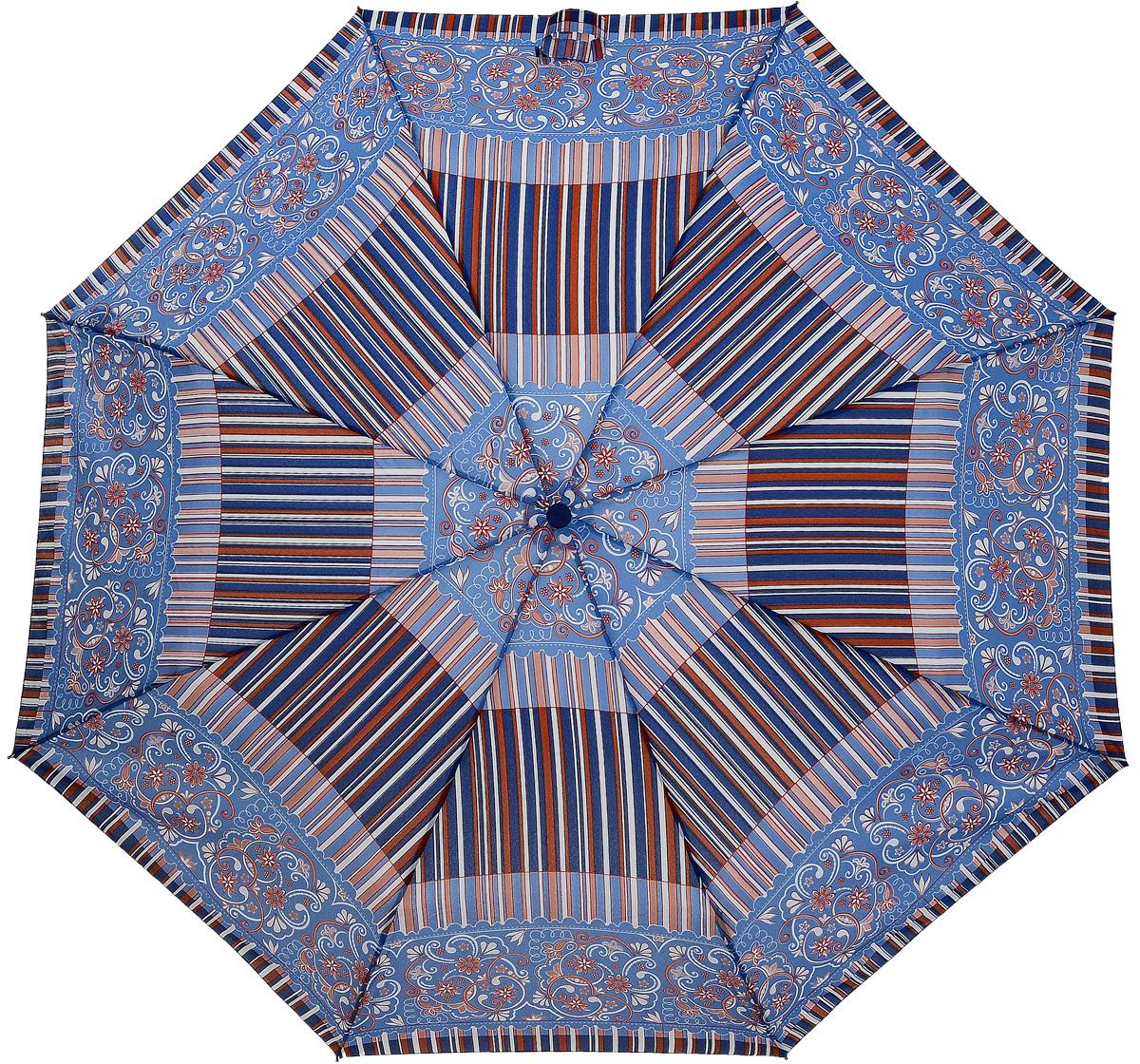 Зонт женский Airton, механический, 3 сложения, цвет: голубой, фиолетовый. 3515-1262591АКлассический женский зонт Airton в 3 сложения имеет механическую систему открытия и закрытия.Каркас зонта выполнен из восьми спиц на прочном стержне. Купол зонта изготовлен из прочного полиэстера. Практичная рукоятка закругленной формы разработана с учетом требований эргономики и выполнена из качественного пластика с противоскользящей обработкой.Такой зонт оснащен системой антиветер, которая позволяет спицам при порывах ветрах выгибаться наизнанку, и при этом не ломаться. К зонту прилагается чехол.
