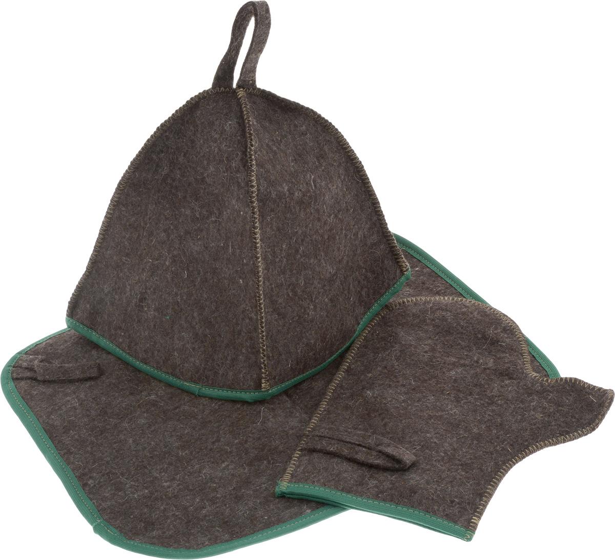 Набор для бани и сауны Proffi Sauna, цвет: темно-коричневый, зеленый, 3 предметаPS0184_зеленый кантОригинальный набор для бани Proffi Sauna включает в себя шапку, рукавицу и коврик. Изделия выполнены из 90% шерсти и 10% лавсана, декорированы кантом. Шапка, рукавица и коврик - это незаменимые аксессуары для любителей попариться в русской бане и для тех, кто предпочитает сухой жар финской бани. Шапка защитит волосы от сухости и ломкости, голову от перегрева и предотвратит появление головокружения. Рукавица обезопасит ваши руки от появления ожогов, а коврик - от высоких температур при контакте с горячей лавкой в парилке. На изделиях имеются петельки, с помощью которых их можно повесить на крючок в предбаннике.Такой набор станет отличным подарком для любителей отдыха в бане или сауне. Размер коврика: 40 х 31 см. Размер шапки: 18 х 18 х 25 см. Размер рукавицы: 27 х 22 см.