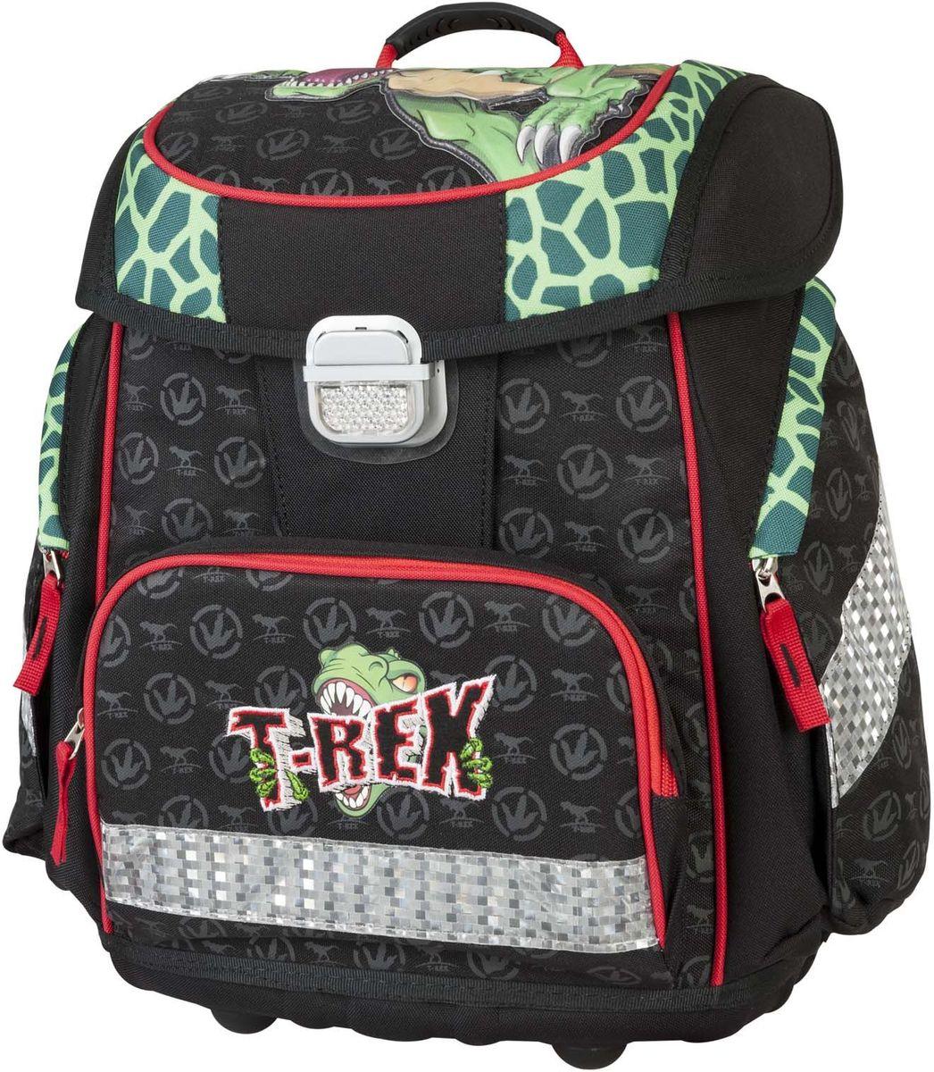 Target Collection Ранец школьный Динозавр Тирекс 1792072523WDДетский рюкзак бренда «Target Collection» имеет яркий рисунок и изготовлен из современных, прочных материалов. Техническими особенностями рюкзака (портфелей) «Target Collection» является система «Flexiball» (поясничная поддержка), которая оптимально адаптирована для ребенка. Ведь самое главное, чтобы ребенок имел правильную осанку во время переноски портфеля. Система «Flexiball» является новшеством в промышленности, она правильно распределяет вес мешка, автоматически подстраивается под ребенка и поэтому обеспечивает идеальное положение для поясничной поддержки. Во время прогулки, система «Flexiball» движется вместе с ребенком, за счет гибкого материала уменьшает нагрузку при ходьбе. Портфель имеет форму куба, пригодную для учащихся начальных классов. Плечевые лямки можно отрегулировать для каждого ребенка индивидуально, поэтому получается что он «растет» вместе с ребенком. Лямки содержат вентиляционные отверстия и тем самым имеют возможность дышать. Они дополнительно оснащены ЭКО-пеной, которая делает ношение портфеля более комфортным для ребёнка.