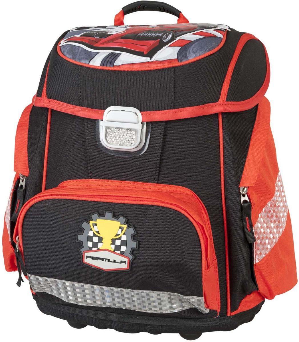 Target Collection Ранец школьный Формула 1 1789072523WDДетский рюкзак бренда «Target Collection» имеет яркий рисунок и изготовлен из современных, прочных материалов. Техническими особенностями рюкзака (портфелей) «Target Collection» является система «Flexiball» (поясничная поддержка), которая оптимально адаптирована для ребенка. Ведь самое главное, чтобы ребенок имел правильную осанку во время переноски портфеля. Система «Flexiball» является новшеством в промышленности, она правильно распределяет вес мешка, автоматически подстраивается под ребенка и поэтому обеспечивает идеальное положение для поясничной поддержки. Во время прогулки, система «Flexiball» движется вместе с ребенком, за счет гибкого материала уменьшает нагрузку при ходьбе. Портфель имеет форму куба, пригодную для учащихся начальных классов. Плечевые лямки можно отрегулировать для каждого ребенка индивидуально, поэтому получается что он «растет» вместе с ребенком. Лямки содержат вентиляционные отверстия и тем самым имеют возможность дышать. Они дополнительно оснащены ЭКО-пеной, которая делает ношение портфеля более комфортным для ребёнка.