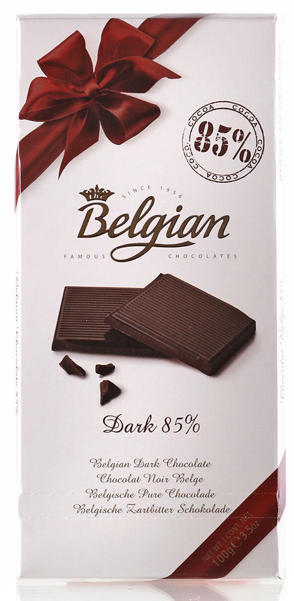 The Belgian Шоколад горький 85% какао, 100 г0120710Классический, весьма интенсивный горьковато-сладкий вкус шоколада оставляет пикантное послевкусие. Шоколад прекрасен в сочетании с чаем, кофе или капучино. Его подают к коньяку или арманьяку, портвейну и красным сухим винам. Лакомство также можно предложить к миндальному или кофейному ликерам.