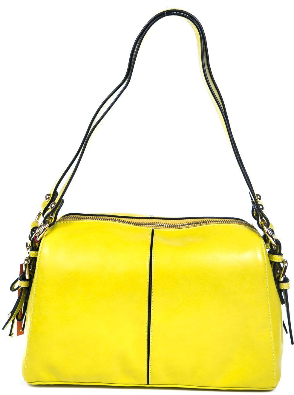Сумка женская Milana, цвет: желтый. 161634-1-172EQW-M710DB-1A1Удобная женская сумка Milana изготовлена из искусственной кожи. Внутренняя подкладка выполнена из искусственного шелка. Сумка закрывается на застежку молнию. Внутри имеется одно основное отделение, которое оснащено двумя втачными карманами на молнии и двумя накладными открытыми кармашками. Модель оснащена ручками на запястье.Оригинальный аксессуар позволит вам завершить образ и быть неотразимой.