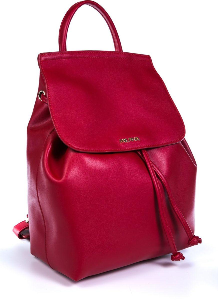 Рюкзак женский Milana, цвет: красный. 161638-1-140747998-101Стильный женский рюкзак Milana идеально подойдет под ваш образ. Он выполнен из качественной искусственной кожи. Внутри расположено главное отделение, которое дополнено клапаном и утягивается шнурком. Рюкзак оснащен широкими лямками, длина которых регулируется с помощью пряжек, и дополнен верхней петлей для подвешивания.Такой модный и удобный рюкзак станет незаменимым аксессуаром в вашем гардеробе.