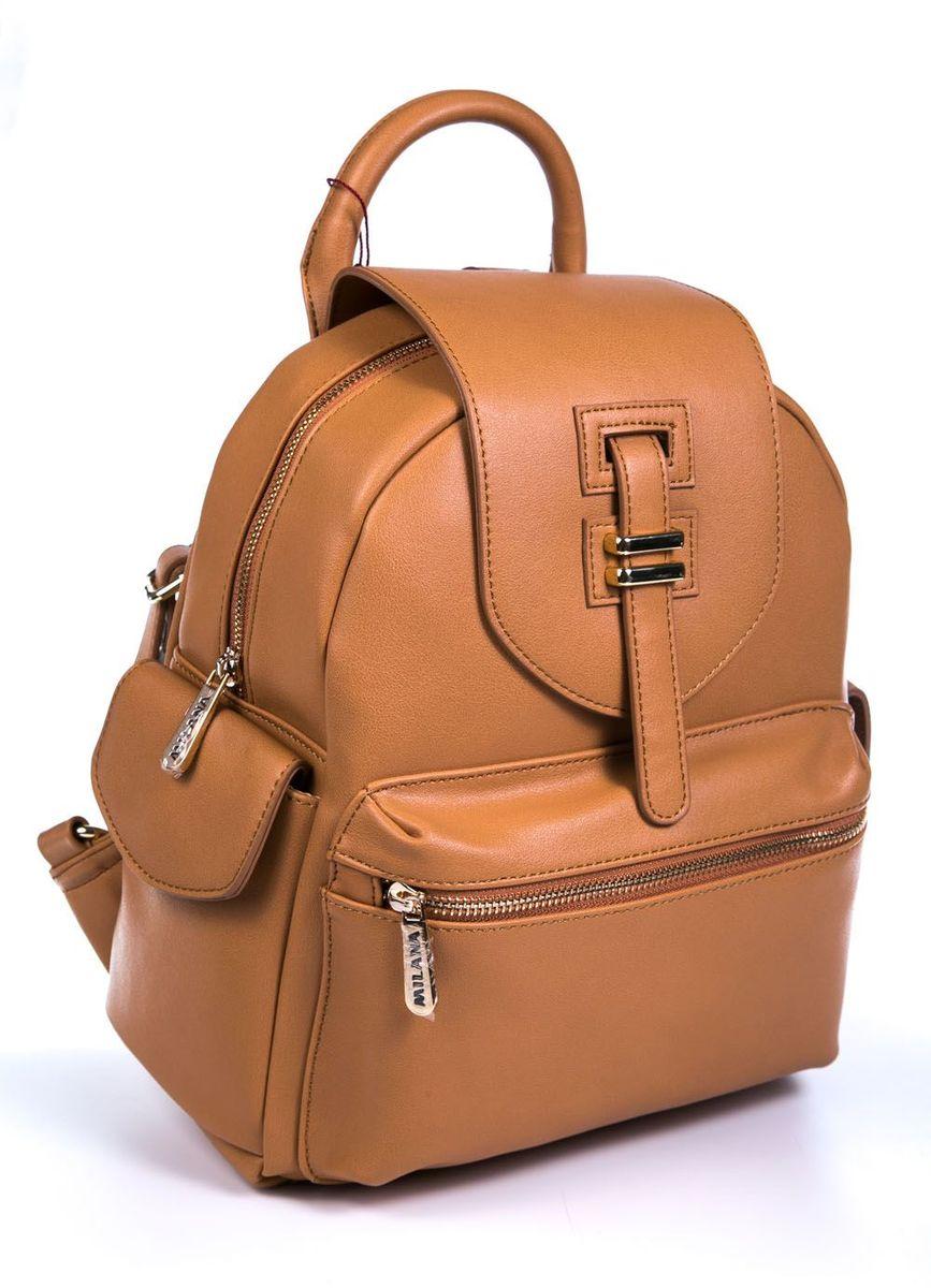 Рюкзак женский Milana, цвет: рыжий. 161638-4-126ML597BUL/DСтильный женский рюкзак Milana идеально подойдет под ваш образ. Он выполнен из качественной искусственной кожи. На лицевой стороне расположен удобный карман, закрывающийся на молнию и дополнен рюкзак двумя боковыми кармашками с клапанами. Внутри расположено главное отделение, которое закрывается клапаном на ремешке. Рюкзак оснащен широкими лямками, длина которых регулируется с помощью пряжек, и дополнен верхней петлей для подвешивания.Такой модный и удобный рюкзак станет незаменимым аксессуаром в вашем гардеробе.