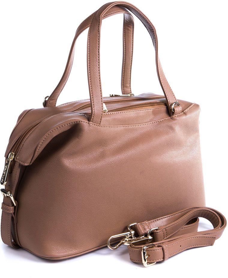 Сумка женская Milana, цвет: темно-бежевый. 162652-1-121EQW-M710DB-1A1Удобная женская сумка Milana изготовлена из искусственной кожи. Внутренняя подкладка выполнена из искусственного шелка. Сумка закрывается на застежку молнию. Внутри имеется одно основное отделение. Задняя боковая стенка дополнена втачным карманом на застежке-молнии. Модель оснащена ручками на запястье и съемным плечевым ремешком.Оригинальный аксессуар позволит вам завершить образ и быть неотразимой.