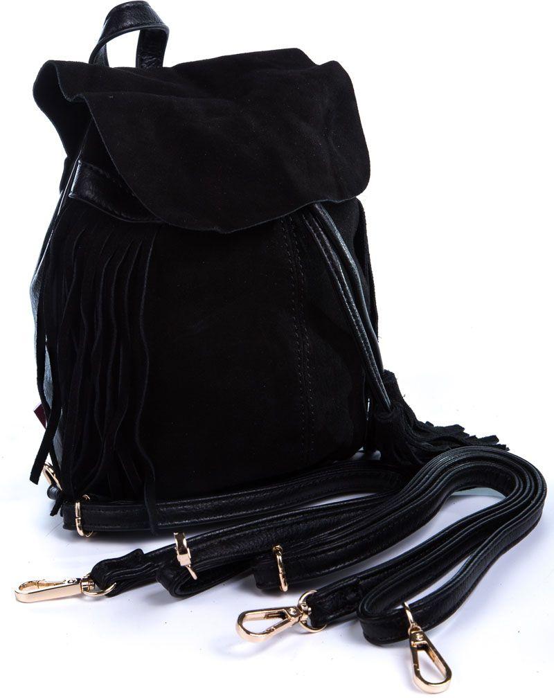 Рюкзак женский Milana, цвет: черный. 162786-1-110S76245Стильный женский рюкзак Milana идеально подойдет под ваш образ. Он выполнен из сочетания искусственной и натуральной кожи. Внутри расположено главное отделение, которое состоит из одного кармана на молнии и открытого кармана. Рюкзак оснащен съемными плечевыми ремешками и дополнен верхней петлей для подвешивания. Верх изделия закрывается с помощью утягивающих завязок.Такой модный и удобный рюкзак станет незаменимым аксессуаром в вашем гардеробе.